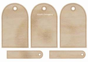 Bilde av KAISERCRAFT - WOODEN FLOURISHES FL498 - ROUNDED TAGS