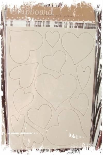 Papirdesign - Chipboards - 634 - Hjerter hvit