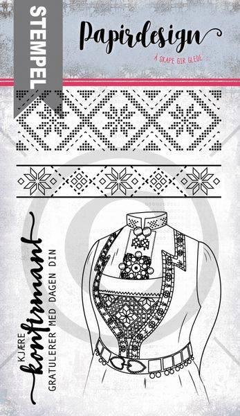 Papirdesign - Stempel - PD19106 - Bunad fra vest
