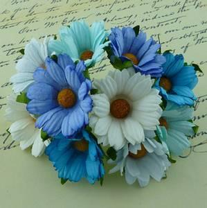 Bilde av Flowers - Chrysanthemums - SAA-270 - Mixed Blue/Aqua & White - 5
