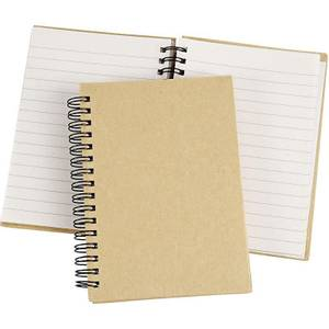 Bilde av Notebook - Kinabok med spiral - A6 - 10,5 x 15 cm - natur