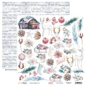 Bilde av ScrapBoys - Cotton Winter - 12x12 - COWI-07 - Die Cut Sheet