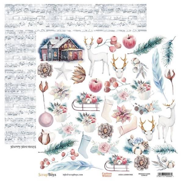 ScrapBoys - Cotton Winter - 12x12 - COWI-07 - Die Cut Sheet