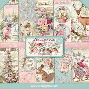 Bilde av Stamperia - 12x12 Paper Pack - 73 - Pink Christmas