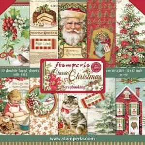 Bilde av Stamperia - 12x12 Paper Pack - 74 - Classic Christmas