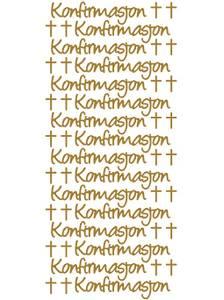 Bilde av Klistremerker - 0337 - Outline stickers - Konfirmasjon - Gull