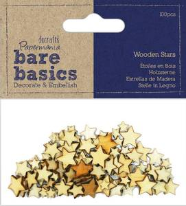 Bilde av Papermania - Bare basics - Wooden Stars - 100 stk