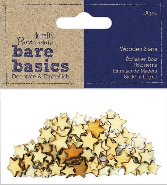 Papermania - Bare basics - Wooden Stars - 100 stk