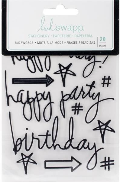 Heidi Swapp - 315172 - Epoxy Stickers - Birthday Black