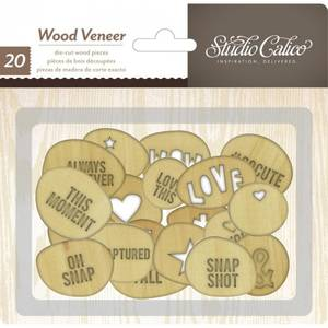 Bilde av STUDIO CALICO - WOOD VENEER 331715 - CIRCLES WITH WORDS