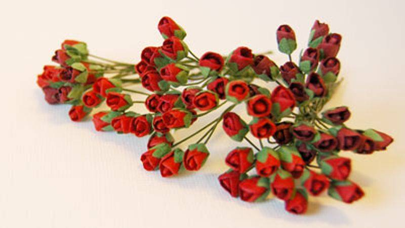 Papirdesign - Roseknopper - Rød