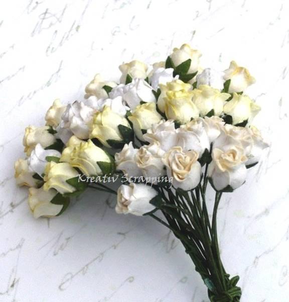 Flowers - Hip Rosebuds - SAA-083 - Mixed White / Cream - 40stk