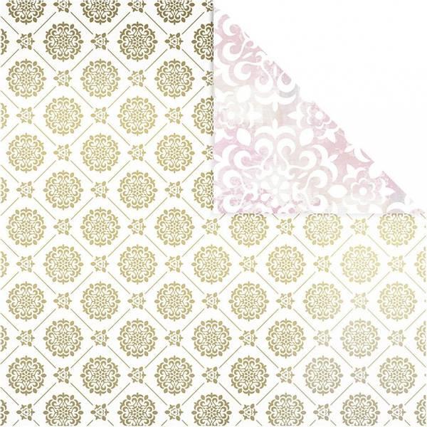 Vivi Gade - Designpapir - Hvit, gull, fliser & akvarell - 3 ark