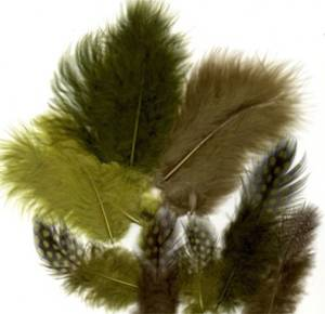 Bilde av Fjær - Marabou og Guinea mix - 18 stk - Grønn