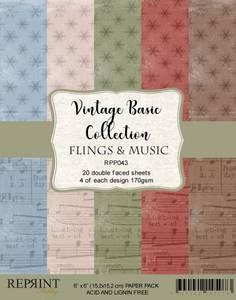 Bilde av Reprint - 6x6 - RPP043 - Vintage Basic Collection Fling & Music