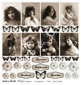 Bilde av Kort & Godt - Utklipp 7768 - Vintage jenter