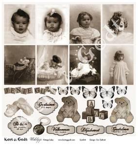 Bilde av Kort & Godt - Utklipp 7744 - Vintage baby