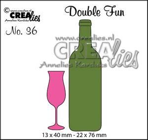 Bilde av Crealies - Dies - Double Fun 36 - Champagne flute+bottle of wine
