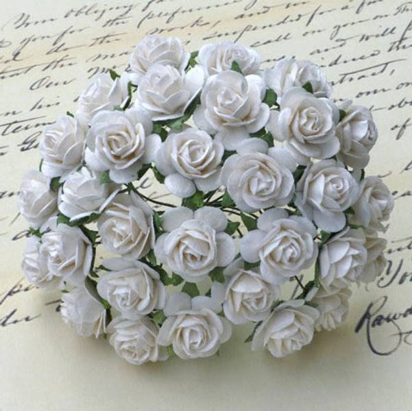 Flowers - Roses - Saa-010 - 25mm - White - 50stk