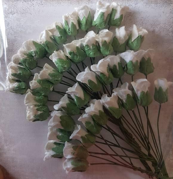 Papirdesign - Lukket rose - hvit