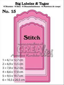 Bilde av Crealies - Dies - Big Labelzz & Tagzz 15 - With stitch line