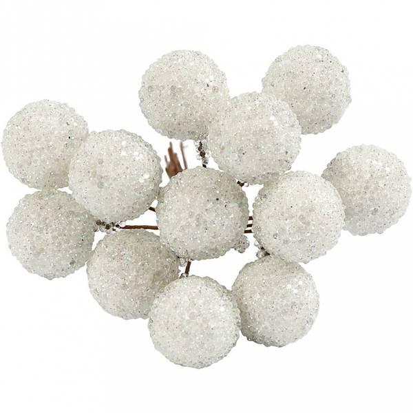 Creotime - Pynte bær - Glitter - dia. 15 mm - Hvit