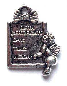 Bilde av Charms - Baby Fødselsattest - Sølv - 8stk