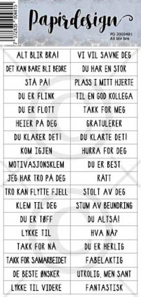 Papirdesign - Klistremerker - 2000481 - Alt blir bra