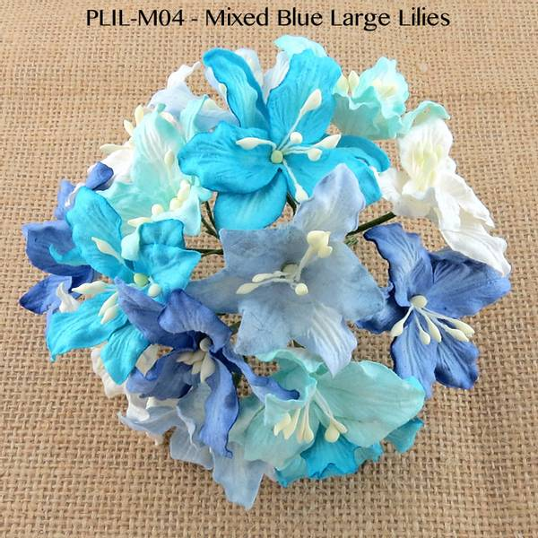 Flowers - Lily Flowers - Large - SAA-415 - Mixed Blue & White -