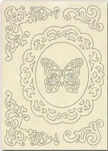 Bilde av Stamperia - Wooden Shapes - A5 - Frame, Corners & Butterfly