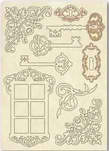 Bilde av Stamperia - Wooden Shapes - A5 - Keys & Window