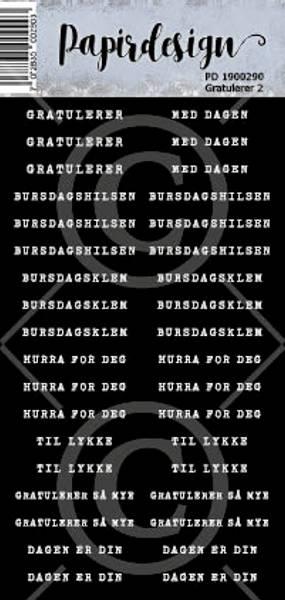 Papirdesign - Klistremerker - 1900290 - Gratulerer 2 , sort