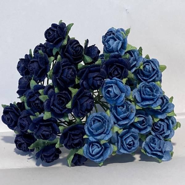 Papirdesign - Roser - 1,2cm - Marineblå / Blå