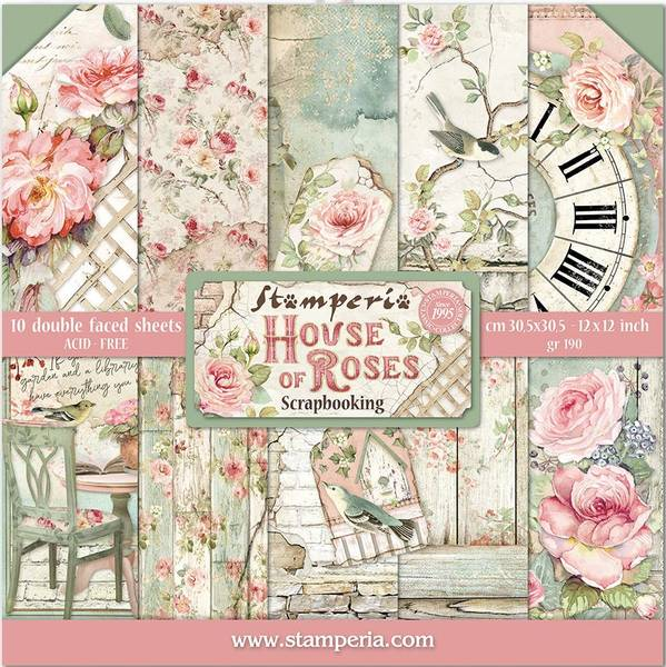 Stamperia - 12x12 Paper Pack - 66 - House of Roses