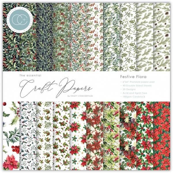 Craft Consortium - 6x6 - Essential Paper Pad - Festive Flora