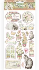 Bilde av Stamperia - Chipboard 15x30cm - 17 - Orchids and Cats
