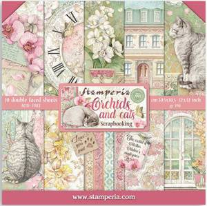 Bilde av Stamperia - 12x12 Paper Pack - 81 - Orchids and Cats