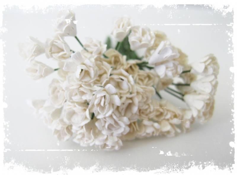 Papirdesign - Rufsete blomsterknopper - Hvit