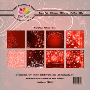 Bilde av Dixi Craft - Paper Pad 15x15 - 025 - Christmas Pattern - Red