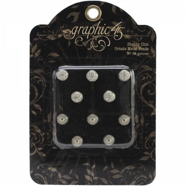 GRAPHIC 45 - STAPLES 4500841 - METAL BRADS - SHABBY CHIC