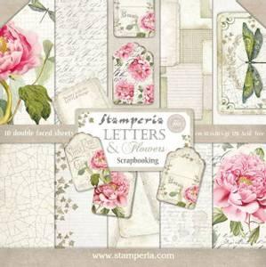 Bilde av Stamperia - 12x12 Paper Pack - 22 - Letters & Flowers