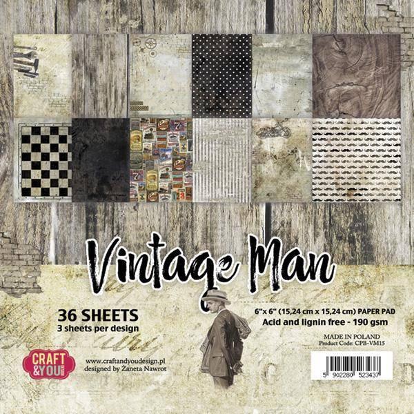 Craft & You - VM15 - Vintage Man - 6x6 Paper Pad