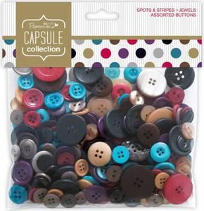 Bilde av Papermania - Assorted Buttons - Spots & Stripes Jewels - 250g