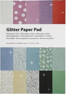 Bilde av Creotime - Glitter Paper Pad - 21x30 cm - 30 ass sheets