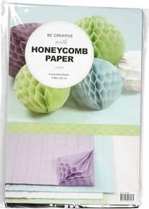Bilde av Creotime - Honeycomb Paper Pastell - Purple, Blue, White & Green