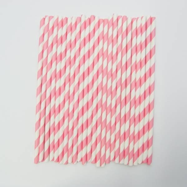 Kort & Godt - Sugerør - XG210 - hvit-rosa striper