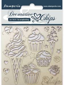 Bilde av Stamperia - Chipboard Decorative Chips - 14 - Ice Cream