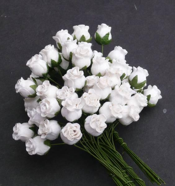 Flowers - Hip Rosebuds - SAA-091 - White - 50 stk