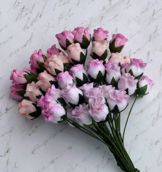 Flowers - Hip Rosebuds - SAA-084 - Mixed Pink Tone - 40stk
