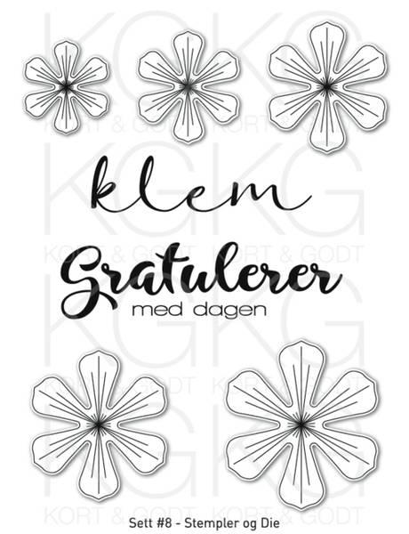 Kort & Godt - Stempel og Die - Sett #8 - Blomster